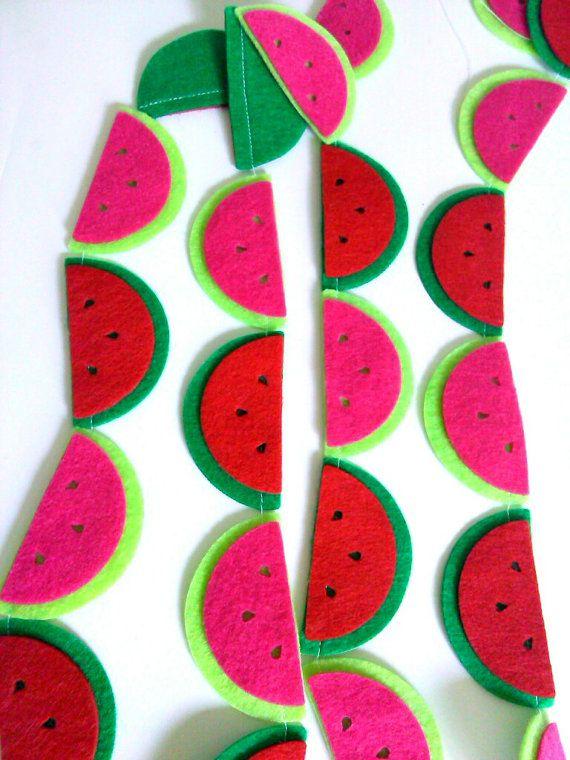 Felt Watermelon Garland Fruit Garland Summer by heartFeltbyA, $10.00