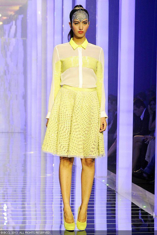 Manasvi Mamgai displays a creation by designer Namrata Joshipura during the Grand Finale of the Lakme Fashion Week