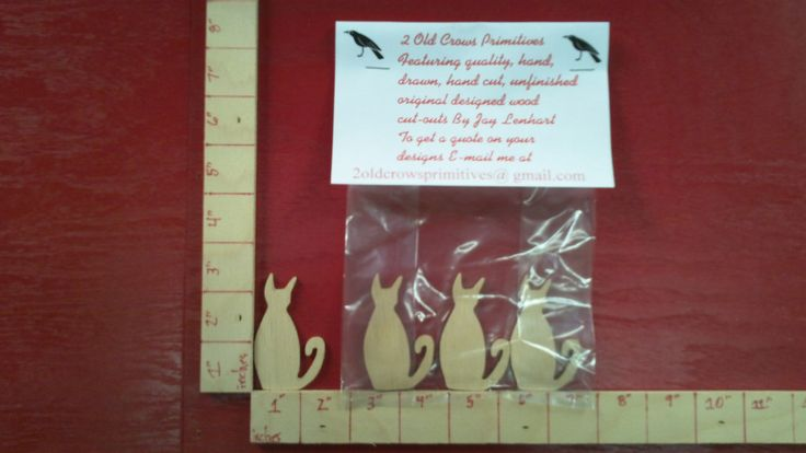 This wooden cat cut-out is cut from 1/8 thick luan plywood. It is 2 1/4 inches long by 1 1/2 inches wide . If you need holes drilled email me.I will drill holes for free! Also you can get any of my cut-outs in 1/8,1/4,or 3/4 inch thick wood. Just let me know what you need! I will do any custom cut-out or project you need!