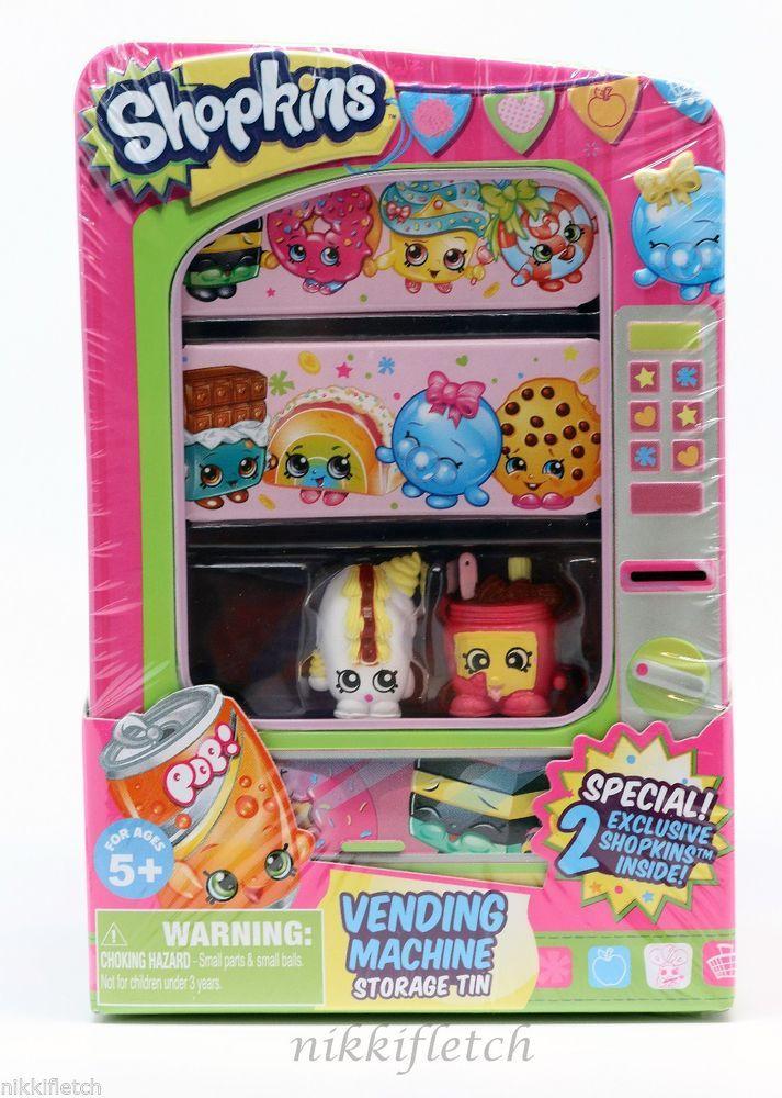 Shopkins Vending Machine Storage Tin w/ White Creamy Bun Bun & Pink Nutty Butter #MooseToys