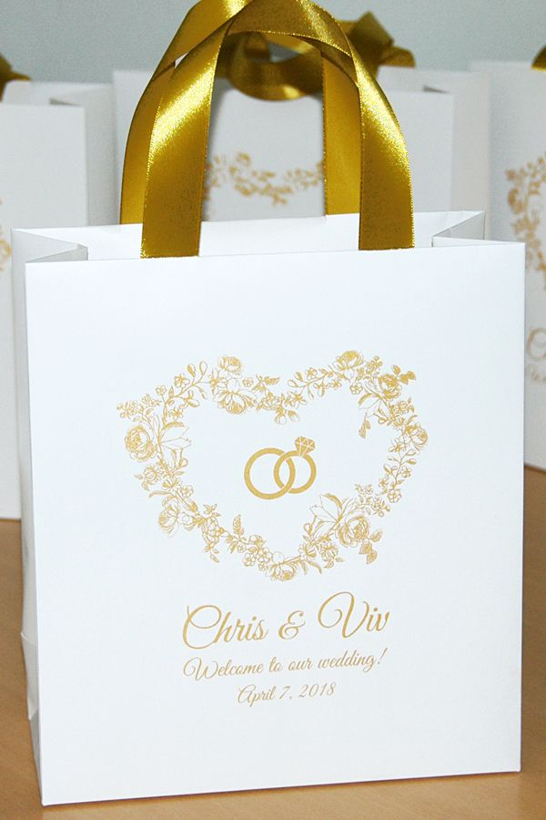Gold Wedding Welcome Bags For Guests With Satin Ribbon Handles
