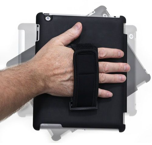 Soft Grip iPad Handle Stand Compatible with iPad 2, 3 & 4. Soft neoprene adjustable handle plus pop out stand! A complete solution. 360° Swiveling mechanism.