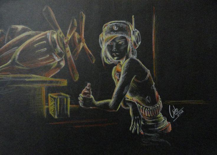 Dieselpunk Girl By Vito Rodriguez Christensen  More in https://www.facebook.com/pages/Vito-Rodriguez-Christensen-Art/586953298117373