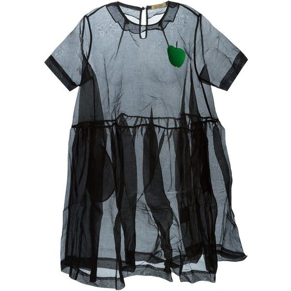 Peter Jensen apple detail sheer dress (21 035 UAH) ❤ liked on Polyvore featuring dresses, black, cotton dress, peter jensen, transparent dress, sheer dress and see through dress
