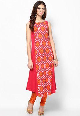 W Red Printed Cotton Kurta - Buy Women Kurtas & Kurtis Online   XW574WA65WJYINDFAS