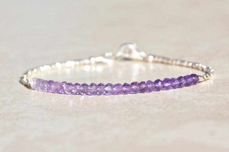 Amethyst Bracelet, February Birthstone, Shaded Ombre Amethyst Bracelet, Beaded Gemstone Bracelet, Hill Tribe Silver, Birthday Gift for Her