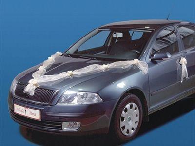 Strik Motorkap Tule met Bloemen Wit