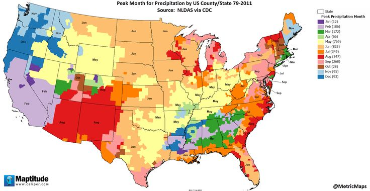 peak month for precipitation by us county