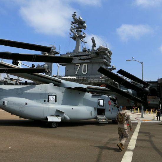 V-22 aircraft folded up