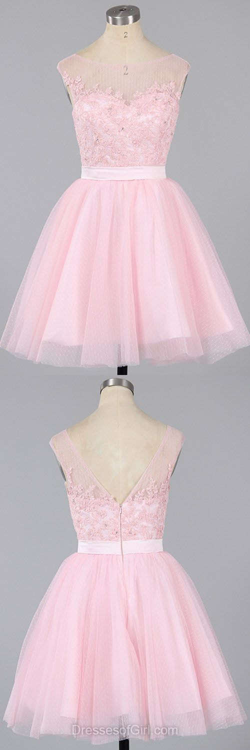 Pink Prom Dress, Princess Prom Dresses, Low Back Homecoming Dress, Cheap Homecoming Dresses, Short Cocktail Dresses