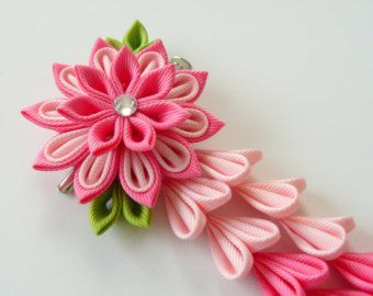 Red Kanzashi Fabric Flower hair clip with falls. Red by JuLVa