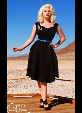 Annalise Dress in Black with Blue Swallows