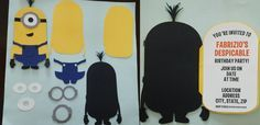 Minion Party Invitation. I found the inspiration at gralisgreetings. I have made some changes to make it easy to assembly.