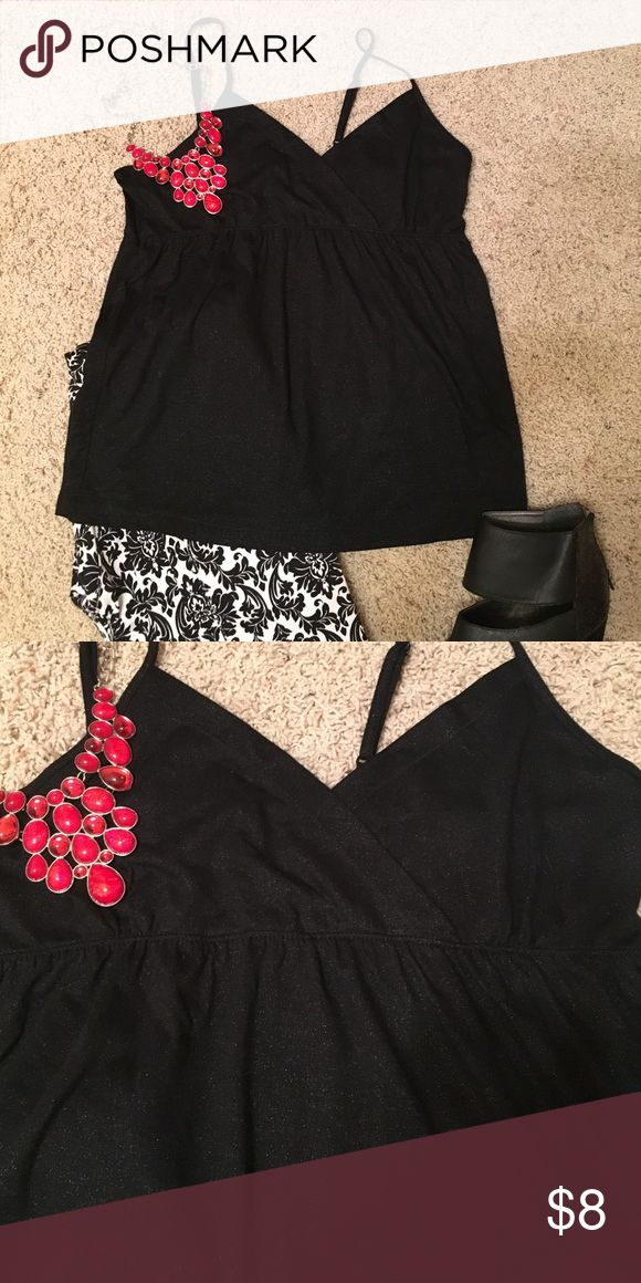 Sparkle tread black baby doll tank. Baby doll top with v neck and a glitter threading.  Only worn a couple times. Smoke free home. Maurices Tops Camisoles