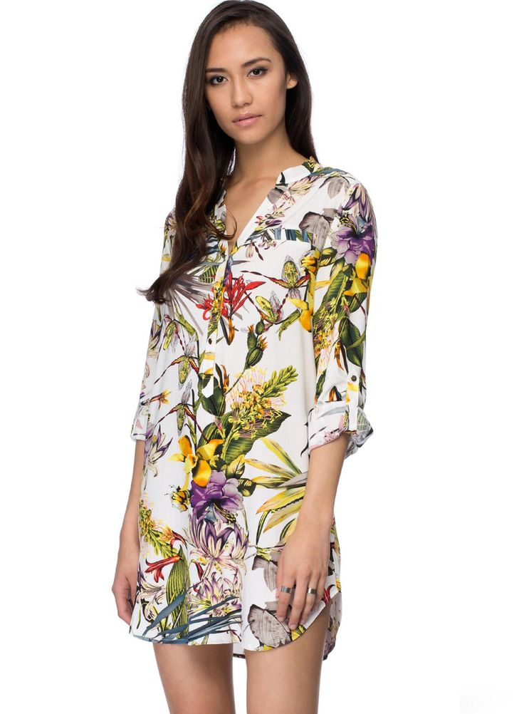 White Long Sleeve Floral Print Dress 17.99