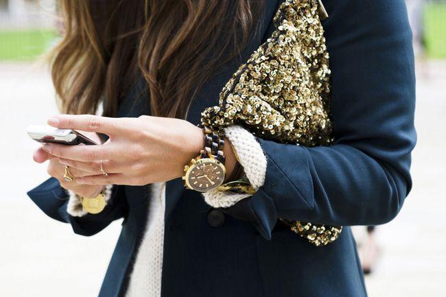 navy. gold sequins.
