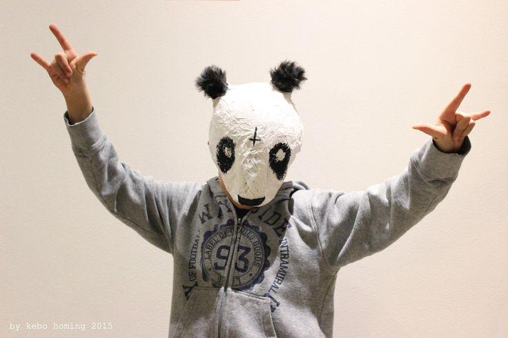 Pandabär Cro Maske für Fasching aus Pappmaché DIY by kebo homing 2015