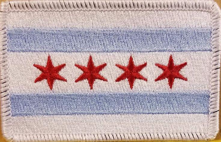 Chicago City Flag Patch W/ VELCRO® Brand Fastener Morale Emblem White Border