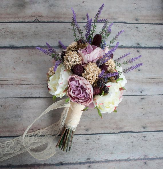 Bohemian Wedding Bouquet - Rose and Lavender Wedding Bouquet - Ready To Ship Bouquet