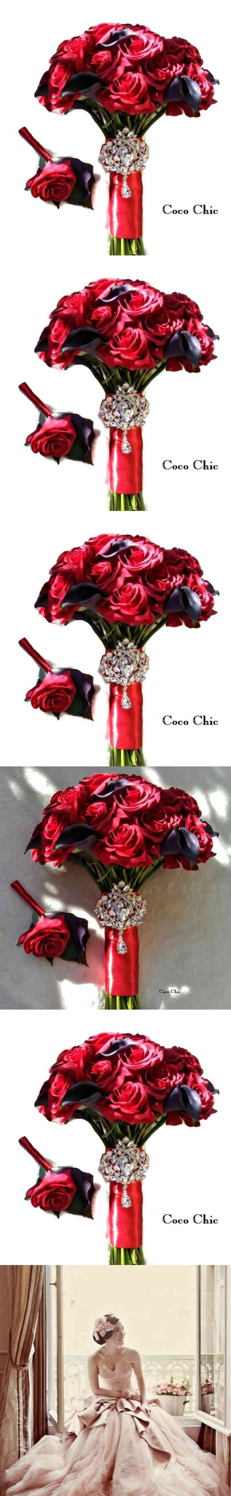 Christmas Wedding, Holiday wedding, Winter bouquet, Red roses for Valentine Day, Brooch Bouquet, Bridal, Bridesmaids Sets, Alternative bouquet for your special day to keep a memory alive (via pushapin.com)