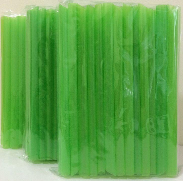 "Jumbo Bubble Boba Tea Smoothies Straws 1/2""Wide 8 1/2""Long 3X50-54 Pc Neon Green"