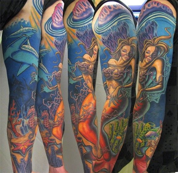 Mermaid Tattoos For Girls | Tattoos by Steve Wimmer : Tattoos : Color : Mermaid Underwater Sleeve ...