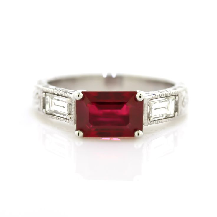 Are you drawn to the color of love and passion? This one-of-a-kind ruby and diamond ring radiates with magnificent color, excellent hardness and outstanding brilliance. In addition, this is an extreme