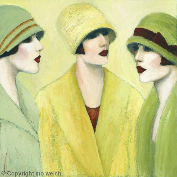 untitled picture of three women by Mo Welch (contemporary), British - inspired by the style of the 1920's (mowelch)