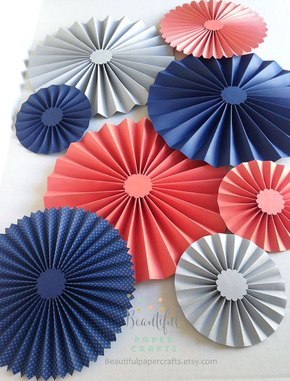 8 pc Navy, Coral, Gray, Rosettes, Paper Fans, Pinwheel Backdrop Decor, Paper Rosettes, Candy Buffet Decorations