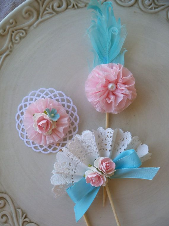 Marie Antoinette Inspired Cupcake Toppers Set of Six for Birthday Party