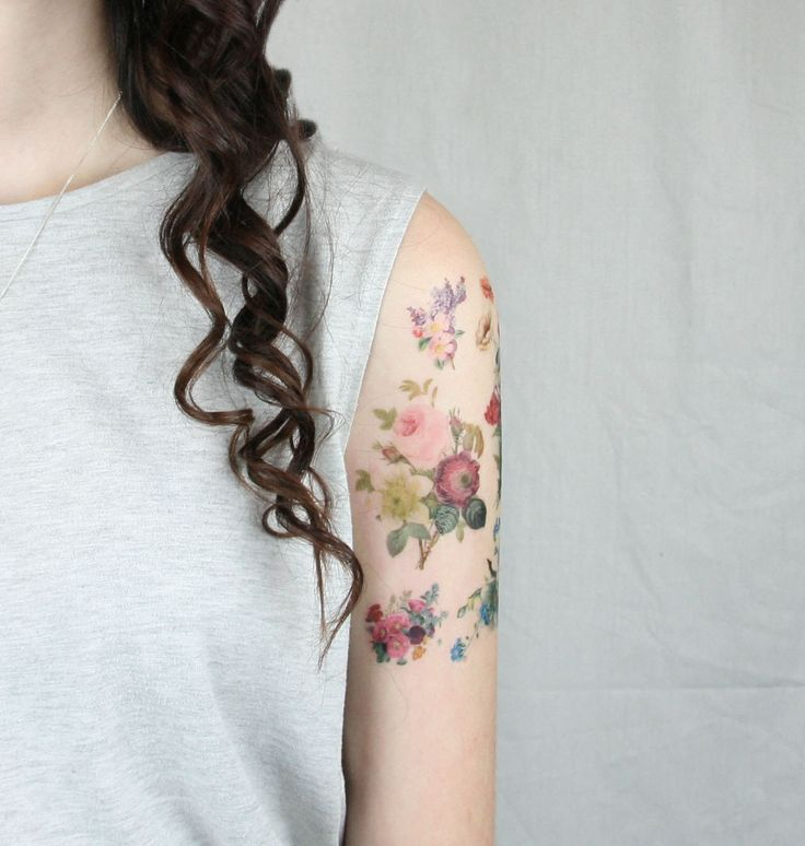 Temporary Flower Tattoos - Temporary Tattoo, Floral temporary tattoos, Fake Tattoos, Vintage Flowers Tattoo by pepperink on Etsy https://www.etsy.com/listing/170996553/temporary-flower-tattoos-temporary