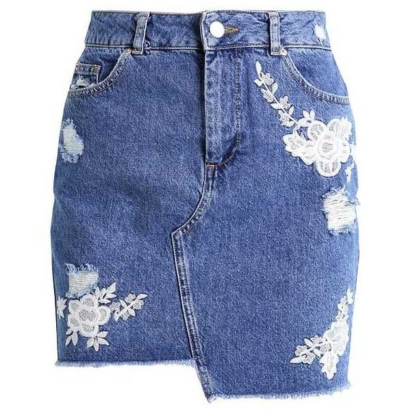 STEP Denim skirt mid denim (1,250 HNL) ❤ liked on Polyvore featuring skirts, blue denim skirt, denim skirt, knee length denim skirt and blue skirt