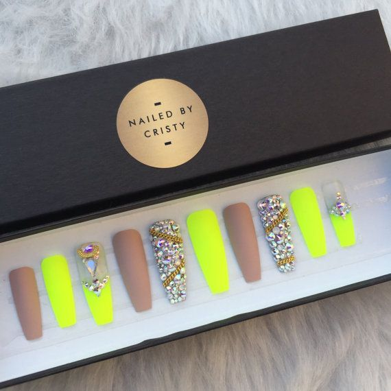 Matte Neon Yellow & Nude Swarovski Crystal Press by NailedByCristy