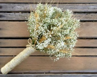Simple Summer Wheat & Baby's Breath Bridal Bouquet  Dried