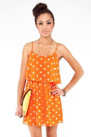 Polka Dot Tier Dress in Orange Sherbet