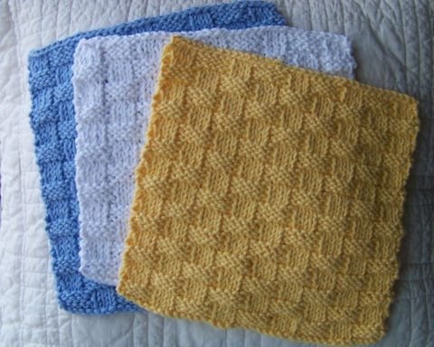 Kitchen Dishcloth ~ Basket Weave Pattern - simple pattern for beginners - per...