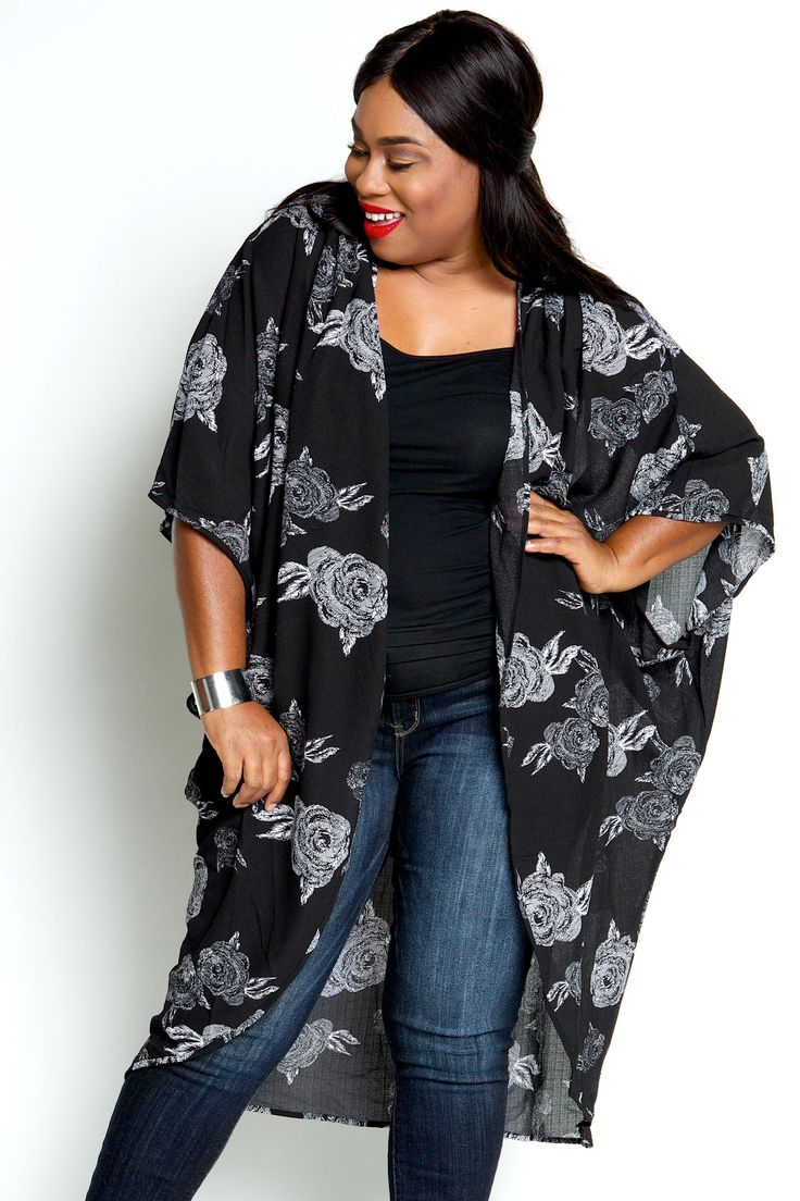 Plus Size Clothing for Women - Floral Lightweight Kimono ...