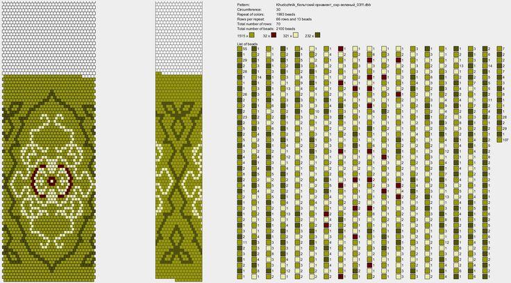 Кельтский орнамент охристо-зеленый