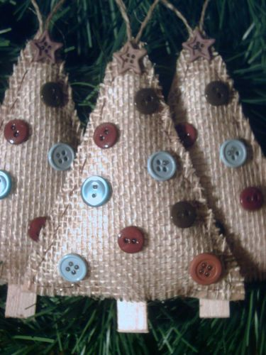 3 NEW HANDMADE RUSTIC PRIMITIVE COUNTRY STYLE BURLAP TREES CHRISTMAS ORNAMENTS from ebay.com
