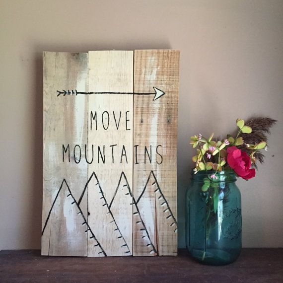 Study nature, love nature, stay close to nature. It will never fail you. (-Frank Lloyd Wright) Lets Move Mountains! Reclaimed Wood, Reclaimed Wood Wall Art, Galley Wall Art, MOVE MOUNTAINS, Gallery Wall Piece, Mountain Art, Reclaimed Wood, Rustic Decor  >>> MORE ITEM DETAILS... Simple black lines on a natural wood finish with just a touch of creamy frappe really makes this piece come to life. Full of simplicity and elegance, this piece is handcrafted, hand-lettered, and hand painted - no…
