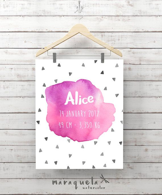 CUSTOMIZED PINK watercolor for newborn with personalized name,triangles,date, weight.Custom new born gift,baby shower,nursery wall room art. ACUARELA PERSONALIZADA bebe,nombre,fecha nacimiento,peso,fondo triangulos,color rosa,niña,pared infantil,regalo bebe,lamina recien nacido by MARAQUELA