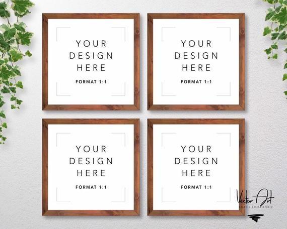 Set Of 4 Square Wood Frames Mockup Nursery Mockup Picture Etsy Frame Mockups Frame Stationery Mockup