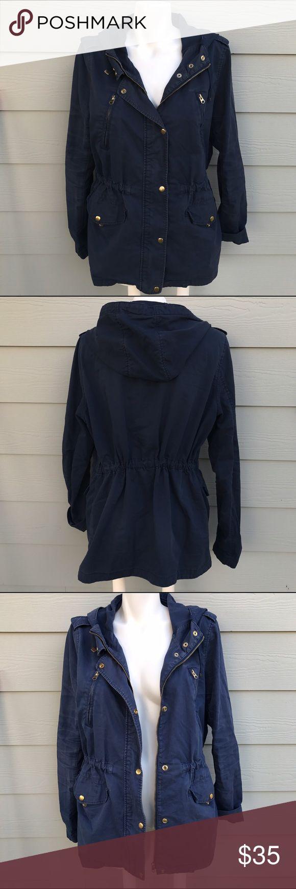 TOPSHOP Navy Colour Block Parka Jacket In good condition Topshop Jackets & Coats Utility Jackets