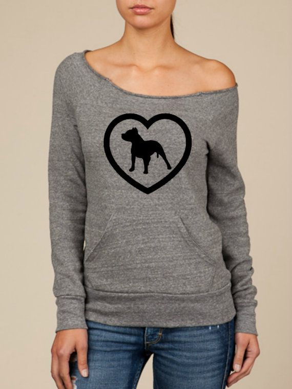 """""""Pitbull Love"""" ♥ design on Wide neck fleece sweatshirt by BijouBuys, $40.00. This is a must for all the pitbull lovers out there!! Check out the store!! ♥"""