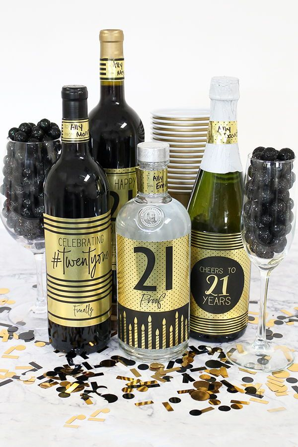 Black And Gold 21st Birthday Wine Bottle Stickers Use These Metallic Foil Labels To Make Party Decorations Or