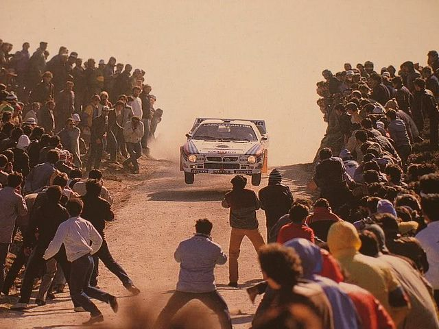 Lancia 037 of Attilio Bettega at 1984 Rally Portugal, jump at Fafe | por racing is life