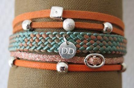 Bracelet manchette orange