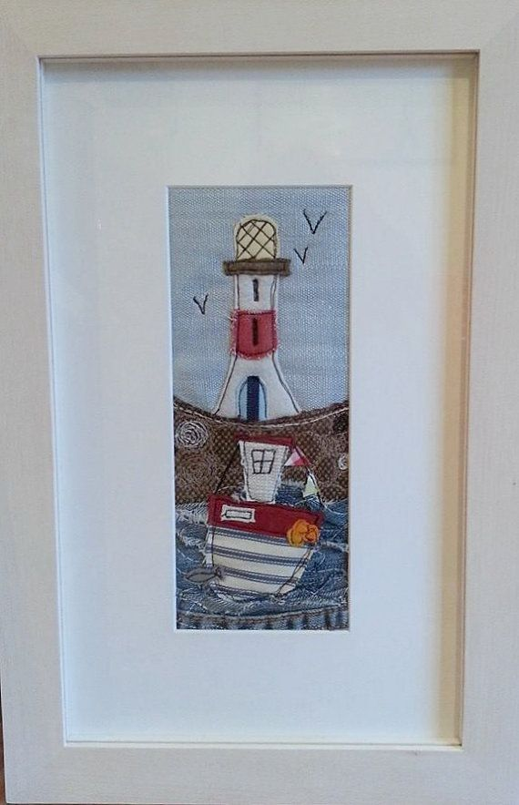 Lighthouse and fishing boat original textile by ZoeWrightTextiles, £47.00