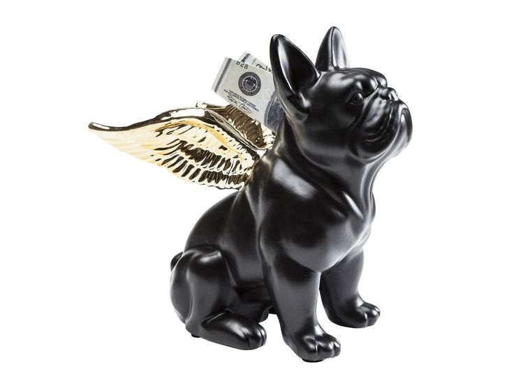 Download the catalogue and request prices of Sitting angel dog gold-black By kare-design, ceramic money box