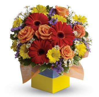 You will want to put this colourful arrangement on your hit parade of gifts to send. Bold primary colours and a perfect mix of flowers make it great for everyone.